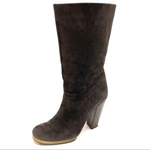 LANVIN Suede Boots with Crocodile Heels, 39